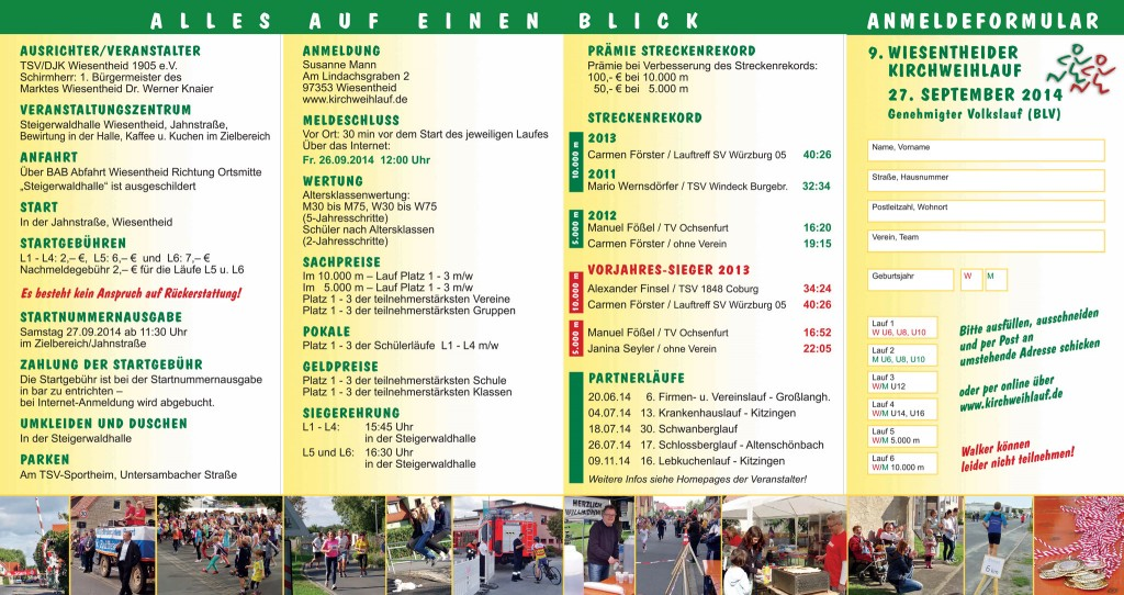 Kirchweihlauf Wiesentheid 2014 – Flyer Rückseite